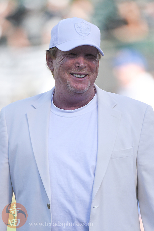 August 15, 2014; Oakland, CA, USA; Oakland Raiders owner Mark Davis before the game against the Detroit Lions at O.co Coliseum.