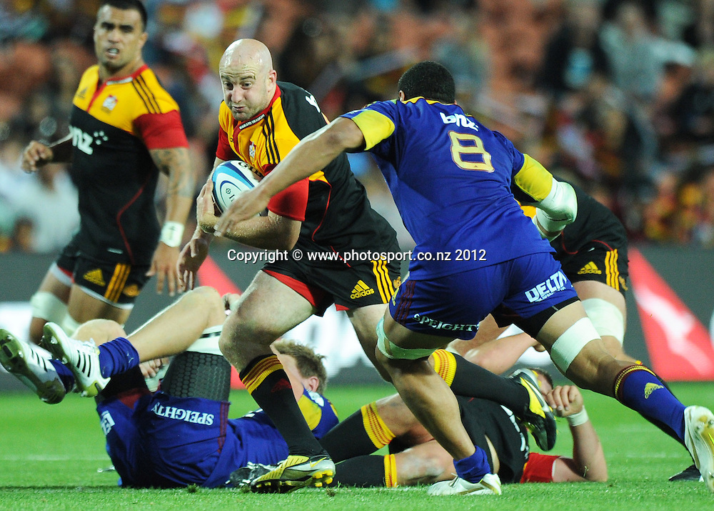 Brendon Leonard during the 2012 Super Rugby season, Chiefs v Highlanders match at Waikato Stadium, New Zealand. Saturday 25 February 2012. Photo: Andrew Cornaga/Photosport.co.nz