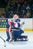 KELOWNA, CANADA - NOVEMBER 29: Daniel Wapple #35 of Regina Pats stretches in net against the Kelowna Rockets on November 29, 2014 at Prospera Place in Kelowna, British Columbia, Canada.  (Photo by Marissa Baecker/Shoot the Breeze)  *** Local Caption *** Daniel Wapple;