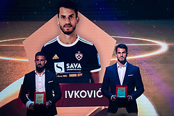 Matko Obradovic and Sasa Ivkovic of NK Maribor with reward for best back in Prva Liga Telekom Slovenije 2018/19 during SPINS XI Nogometna Gala 2019 event when presented best football players of Prva liga Telekom Slovenije in season 2018/19, on May 19, 2019 in Slovene National Theatre Opera and Ballet Ljubljana, Slovenia. Photo by Grega Valancic / Sportida.com