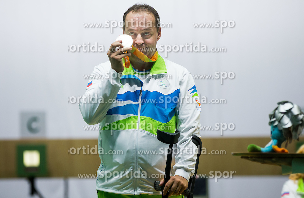 Second placed Francek Gorazd Tirsek - Nani of Slovenia celebrates at medal ceremony after the Final of R4 - Mixed 10m Air Rifle Standing SH2 on day 3 during the Rio 2016 Summer Paralympics Games on September 10, 2016 in Olympic Shooting Centre, Rio de Janeiro, Brazil. Photo by Vid Ponikvar / Sportida