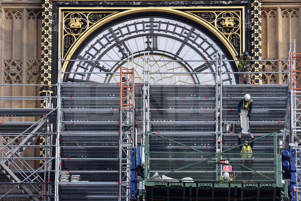© Licensed to London News Pictures. 12/10/2017. London, UK. Scaffolding covers the Elizabeth Tower, home of Big Ben, as workmen continue with renovations.  Costs of the project are estimated at £61m, compared to the initial estimate of £29m. Photo credit : Stephen Chung/LNP