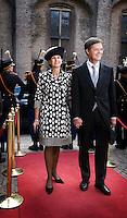 Nederland. Den Haag, 18 september 2007.<br /> Prinsjesdag. Minister-president Jan Peter Balkenende arriveert met echtgenote Bianca op het Binnenhof , poseren op de rode loper.<br /> Foto Martijn Beekman <br /> NIET VOOR TROUW, AD, TELEGRAAF, NRC EN HET PAROOL