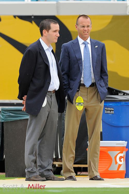 Philadelphia Eagles general manager Howard &quot;Howie&quot; Roseman and team president  Don Smolenski prior to a preseason NFL game against the Jacksonville Jaguars at EverBank Field on Aug. 24, 2013 in Jacksonville, Florida. The Eagles won 31-24.<br /> <br /> &copy;2013 Scott A. Miller