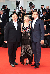 Paul Schrader, Ethan Hawke and Amanda Seyfried attend the 'First Reformed' red carpet  during the 74th Venice Film Festival in Venice, Italy, on August 31, 2017. (Photo by Matteo Chinellato/NurPhoto/Sipa USA)