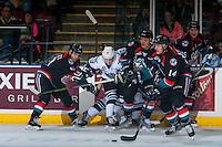 KELOWNA, CANADA - OCTOBER 26: Jake Kryski #14 of the Kelowna Rockets skates with the puck against the Victoria Royals on October 26, 2016 at Prospera Place in Kelowna, British Columbia, Canada.  (Photo by Marissa Baecker/Shoot the Breeze)  *** Local Caption ***