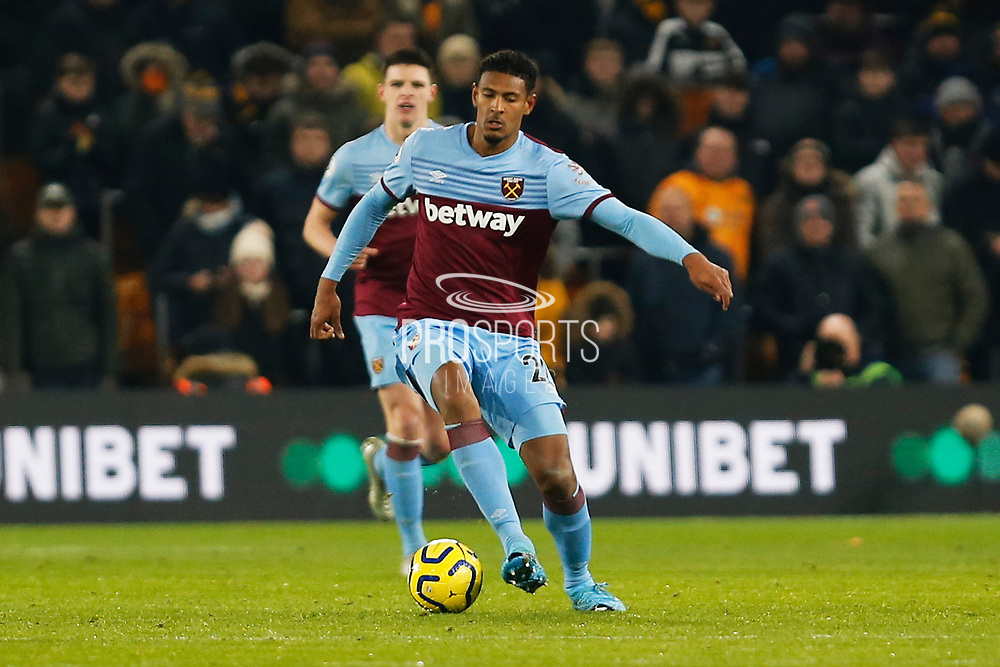 Sebastien Haller in action during the Premier League match between Wolverhampton Wanderers and West Ham United at Molineux, Wolverhampton, England on 4 December 2019.