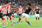 Marouane Fellaini of Manchester United battles for the ball during the Champions League Group B match between PSV Eindhoven and Manchester United at Philips Stadion, Eindhoven, Netherlands on 15 September 2015. Photo by Phil Duncan.