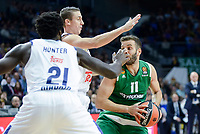 Real Madrid's player Othello Hunter and Jaycee Carroll and Panathinaikos's player Nikos Pappas during match of Turkish Airlines Euroleague at Barclaycard Center in Madrid. November 16, Spain. 2016. (ALTERPHOTOS/BorjaB.Hojas)