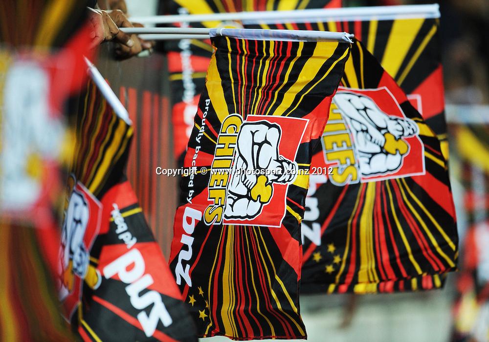 Chiefs flags during the 2012 Super Rugby season, Chiefs v Highlanders match at Waikato Stadium, New Zealand. Saturday 25 February 2012. Photo: Andrew Cornaga/Photosport.co.nz
