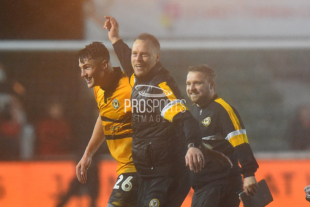 Newport County manager Michael Flynn celebrates the 2-0 win at full time during the The FA Cup match between Newport County and Middlesbrough at Rodney Parade, Newport, Wales on 5 February 2019.