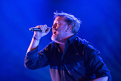 © Licensed to London News Pictures.  02/09/2017; Bristol, UK. Picture GUY GARVEY from ELBOW performing at The Downs Festival 2017 on The Downs in Bristol. A streaker invaded the stage and Guy Garvey then took the streaker's hand and embraced the streaker. Picture credit : Simon Chapman/LNP