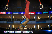 Donnell Whittenburg of the United States of America (USA) on the Rings on his way to a Silver Medal at the O2 Arena, London, United Kingdom on 8 April 2017. Photo by Martin Cole.