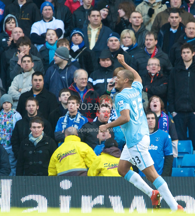 MANCHESTER, ENGLAND - Sunday, January 31, 2010: Manchester City's Vincent Kompany celebrates scoring the second goal against  Portsmouth during the Premiership match at the City of Manchester Stadium. (Photo by David Rawcliffe/Propaganda)