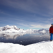 The opening spread for a Men's Health feature taken in Antarctica