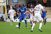 AFC Wimbledon striker Tom Elliott (9) battles for possession  during the EFL Sky Bet League 1 match between AFC Wimbledon and Northampton Town at the Cherry Red Records Stadium, Kingston, England on 11 March 2017. Photo by Matthew Redman.