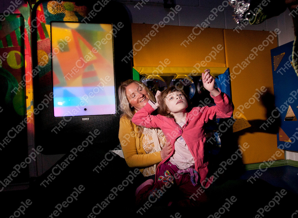 21.03.12 <br /> St. Clares School, Ennis has installed new sensory rooms to the school. Our pictures shows Sarah and Deborah Lyons, St. Clares enjoying the the experience of the sensory room.<br /> Pic. Alan Place / Press 22