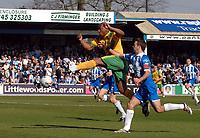 Photo: Ashley Pickering.<br />Colchester United v Norwich City. Coca Cola Championship. 31/03/2007.<br />Dion Dublin of Norwich (yellow) fires in a shot
