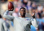 Buffalo Bills quarterback EJ Manuel (3) throws a pre game pass before the 2014 NFL Pro Football Hall of Fame preseason football game against the New York Giants on Sunday, Aug. 3, 2014 in Canton, Ohio. The Giants won the game 17-13. ©Paul Anthony Spinelli