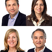 Composite photo of four individual people portrait headshots, executive corporate portraits
