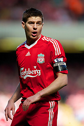 LIVERPOOL, ENGLAND - Sunday, April 11, 2010: Liverpool's captain Steven Gerrard MBE, wears a black armband in memory of the 96 Liverpool supporters who died in the Hillsborough Stadium Disaster on 15th April 1989, during the Premiership match against Fulham at Anfield. (Photo by: David Rawcliffe/Propaganda)