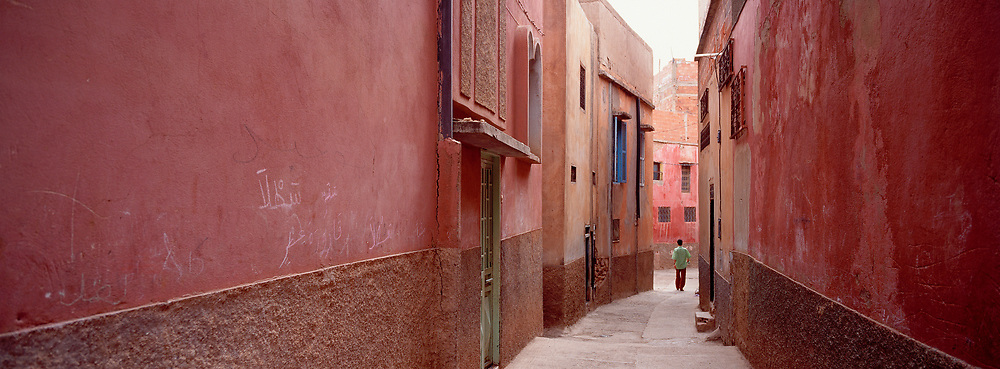 Boy in Green Shirt walking down Red Walled Alley