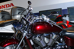06 March 2015:   Honda motorcycle.<br /> <br /> First staged in 1901, the Chicago Auto Show is the largest auto show in North America and has been held more times than any other auto exposition on the continent.  It has been  presented by the Chicago Automobile Trade Association (CATA) since 1935.  It is held at McCormick Place, Chicago Illinois