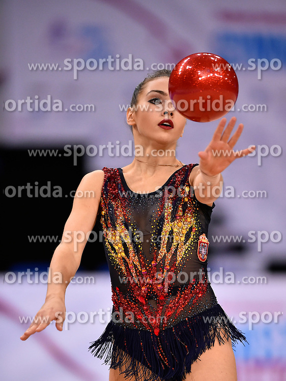 08.09.2015, Porsche Arena, Stuttgart, GER, Gymnastik WM, Gruppe D, im Bild Milena Milacic (SRB) Ball // during the World Rhythmic Gymnastics Championships at the Porsche Arena in Stuttgart, Germany on 2015/09/08. EXPA Pictures &copy; 2015, PhotoCredit: EXPA/ Eibner-Pressefoto/ Weber<br /> <br /> *****ATTENTION - OUT of GER*****