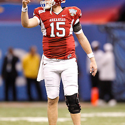 January 4, 2011; New Orleans, LA, USA; Arkansas Razorbacks quarterback Ryan Mallett (15) against the Ohio State Buckeyes during the fourth quarter of the 2011 Sugar Bowl at the Louisiana Superdome.Ohio State defeated Arkansas 31-26. Mandatory Credit: Derick E. Hingle