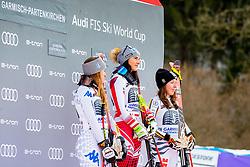 27.01.2019, Kandahar, Garmisch, GER, FIS Weltcup Ski Alpin, Abfahrt, Damen, Siegerehrung, im Bild v.l.: 2. Platz Sofia Goggia (ITA), 1. Platz Stephanie Venier (AUT), 3. Platz Kira Weidle (GER) // f.l.: 2nd placed Sofia Goggia of Italy Winner Stephanie Venier of Austria 3nd placed Kira Weidle of Germany during the winner Ceremony for the ladie's Downhill of FIS Ski Alpine World Cup at the Kandahar in Garmisch, Germany on 2019/01/27. EXPA Pictures © 2019, PhotoCredit: EXPA/ Dominik Angerer
