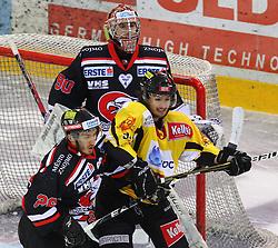 31.01.2012, Albert Schultz Halle, Wien, AUT, EBEL, UPC Vienna Capitals vs HC Orli Znojmo, im Bild Lubomir Stach, (HC Orli Znojmo, #26), Ondrej Kacetl, (HC Orli Znojmo, #90) und Taylor Holst, (UPC Vienna Capitals, #94) // during the icehockey match of EBEL between UPC Vienna Capitals (AUT) and HC Orli Znojmo (CZE) at Albert Schultz Halle, Vienna, Austria on 31/01/2012,  EXPA Pictures © 2012, PhotoCredit: EXPA/ T. Haumer