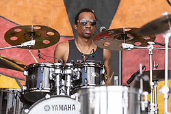 May 3, 2018 - New Orleans, Louisiana, U.S - OMARI NEVILLE during 2018 New Orleans Jazz and Heritage Festival at Race Course Fair Grounds in New Orleans, Louisiana (Credit Image: © Daniel DeSlover via ZUMA Wire)