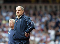 Photo: Chris Ratcliffe.<br /> West Ham United v Tottenham Hotspur. The Barclays Premiership. 07/05/2006.<br /> Martin Jol cannot hide this disappointment at not making the Champions League.