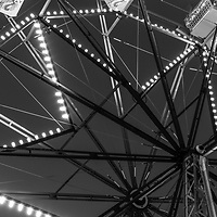 Newport Beach Ferris Wheel black and white panorama photo. The Balboa Fun Zone Ferris Wheel is a popular attraction in Orange County Southern California in the United States of America. Photo is high resolution. Copyright ⓒ 2017 Paul Velgos with All Rights Reserved.