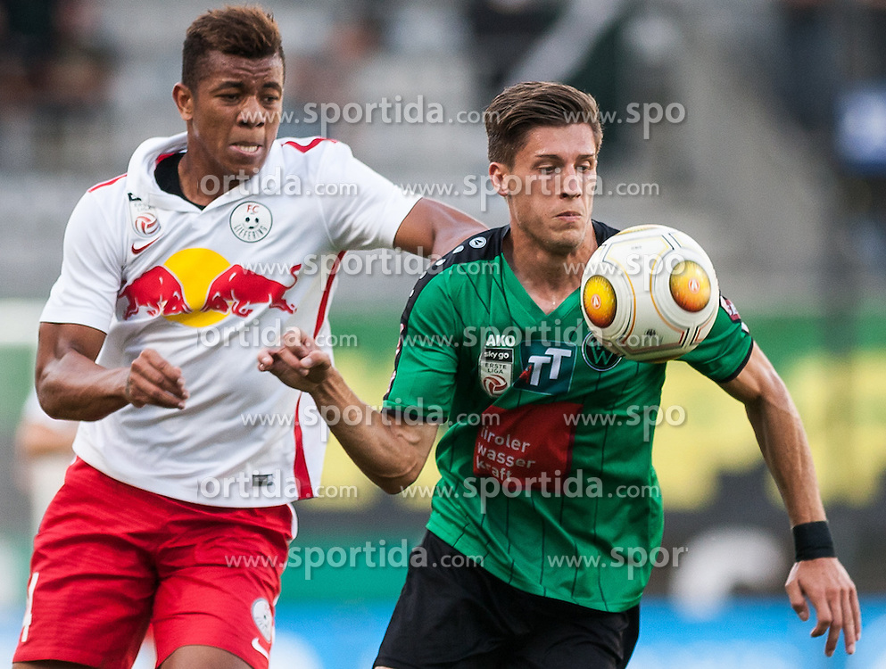 16.08.2016, Tivoli Stadion, Innsbruck, AUT, 2. FBL, FC Wacker Innsbruck vs FC Liefering, 5. Runde, im Bild v.l.n.r.: Igor Julio Dos Santos (FC Liefering) und Florian Jamnig (FC Wacker Innsbruck) // during second Austrian Bundesliga 5th round match between FC Wacker Innsbruck and FC Liefering at the Tivoli Stadion in Innsbruck, Austria on 2016/08/16. EXPA Pictures © 2016, PhotoCredit: EXPA/ Jakob Gruber