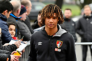 Nathan Ake (5) of AFC Bournemouth arriving at the Vitality Stadium before the Premier League match between Bournemouth and Arsenal at the Vitality Stadium, Bournemouth, England on 14 January 2018. Photo by Graham Hunt.
