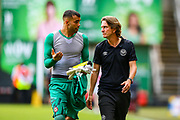 Brentford Manager Thomas Frank and Brentford goalkeeper David Raya Martin (1) at full time during the EFL Sky Bet Championship match between Charlton Athletic and Brentford at The Valley, London, England on 24 August 2019.