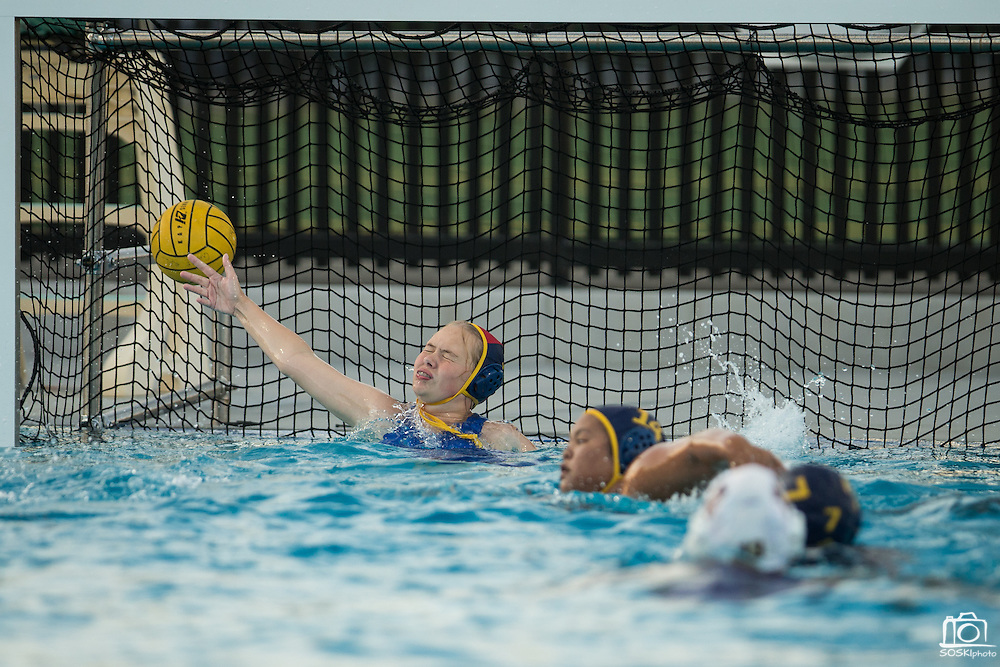 A Monta Vista shot slips past goalie Amy Armstrong (1) during a girl's varsity water polo match at Milpitas High School in Milpitas, California, on September 6, 2016. (Stan Olszewski/SOSKIphoto)