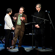 May 14, 2011 - Manhattan, NY : .Symphony Space Artistic Director Laura Kaminsky leads a conversation with Carlos Sanchez-Guitierrez (center) and Ricardo Zohn-Muldoon (right) during Symphony Space's Wall to Wall Sonidos concert on Saturday night. .CREDIT: Karsten Moran for The New York Times