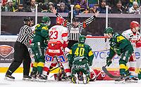 2020-01-17 | Umeå, Sweden: battles for the puck in HockeyAllsvenskan during the game  between Björklöven and Timrå at A3 Arena ( Photo by: Michael Lundström | Swe Press Photo )<br /> <br /> Keywords: Umeå, Hockey, HockeyAllsvenskan, A3 Arena, Björklöven, Timrå, mlbt200117