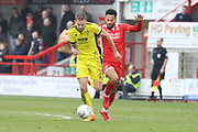 Harry Pell and Jordan Roberts during the EFL Sky Bet League 2 match between Crawley Town and Cheltenham Town at the Checkatrade.com Stadium, Crawley, England on 24 March 2018. Picture by Antony Thompson.