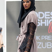 Vivi Zubedi showcases it latest collection at the Modest and Beautiful a Modest Fashion Live at The Atrium in Westfield London on June 24, 2018.