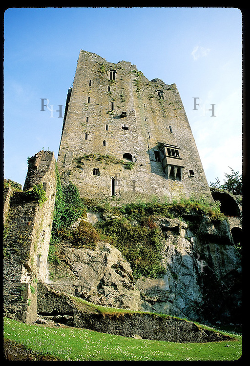 Sky-high keep (130'h) is main ruins of Blarney Castle (c1446), atop which lies famous stone. Ireland