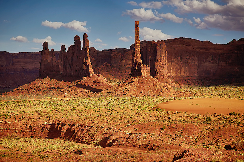 Totem Pole and Yei Bi Chei formations at Monument Valley