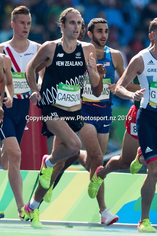 New Zealand's Hamish Carson competes during the Men's 1500m race at the 2016 Rio Olympics on Tuesday the 16th of August 2016. © Copyright Photo by Marty Melville / www.Photosport.nz