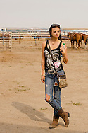Crow Fair Rodeo, Crow Indian Reservation, Montana, teenage girl