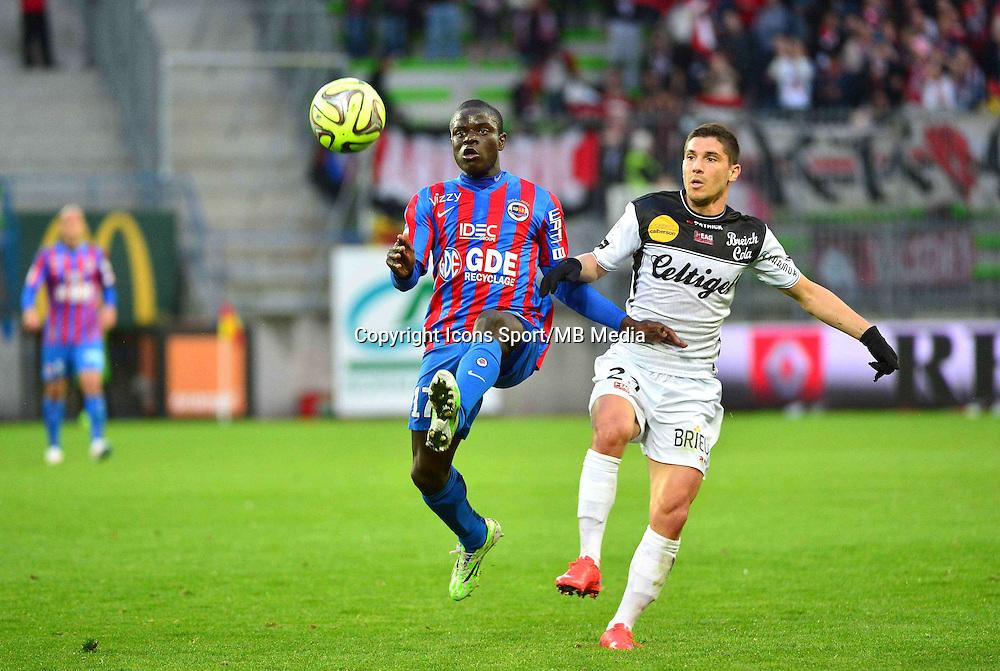 N'Golo KANTE / Jeremy PIED - 25.04.2015 - Caen / Guingamp - 34eme journee de Ligue 1<br /> Photo : David Winter / Icon Sport