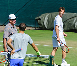 &copy; Licensed to London News Pictures. <br /> The Championship Wimbledon 2017 Wimbledon, UK. 02 07 2017<br /> CAPTION:   Andy Murray practice session on the Aorangi Park court 15 at Wimbledon the day before the start of the 2017 Championship with his coach Ivan Lendl and practice partner Grigor Dimitrov.<br /> Photo credit: Peter van den Berg/LNP