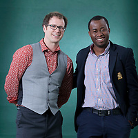 Simon Sylvester (left) with Chigozie Obioma (Man Booker Prize Nominee), at the Edinburgh International Book Festival 2015.<br /> Edinburgh, Scotland. 26th August 2015 <br /> <br /> <br /> Photograph by Gary Doak/Writer Pictures<br /> <br /> WORLD RIGHTS