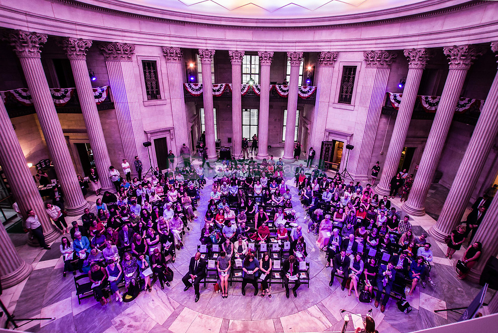 "July 26, 2017 - New York, new York, United States - Led by the endowment foundation Humanities New York, a celebration of the centennial of Women's Suffrage was organized at Federal Hall in NYC under the title of ""Beyond the Ballot: From Suffrage to the Women's March"".  In the course of the event, a roundtable involving women from journalism, history, and community organizing discussed such themes as the Suffrage movement, the 19th Amendment, and what's next for women.  The event was moderated by Jia Tolentino of the New Yorker..Featured guests include Jessa Crispin, author of Why I Am Not a Feminist; activist Linda Sarsour, one of four co-chairs of the Women's March; Kim Phillips-Fein, Associate Professor of American History at New York University; and Sarah Seidman, historian and curator at the Museum of the City of New York. Topics included the wage disparity between men and women and women of color.  Furthermore, six months after the Women's March issues were discussed regarded the successes and failures of the event. (Credit Image: © Sachelle Babbar via ZUMA Wire)"